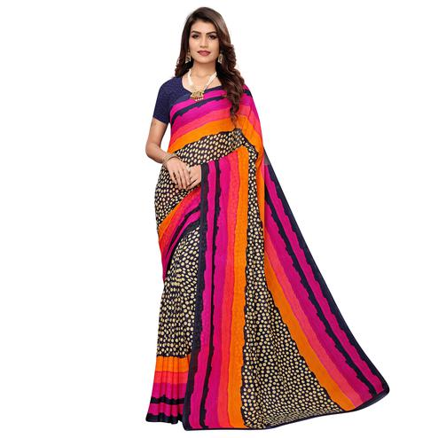 Imposing Navy Blue-Multi Colored Casual Wear Printed Georgette Saree