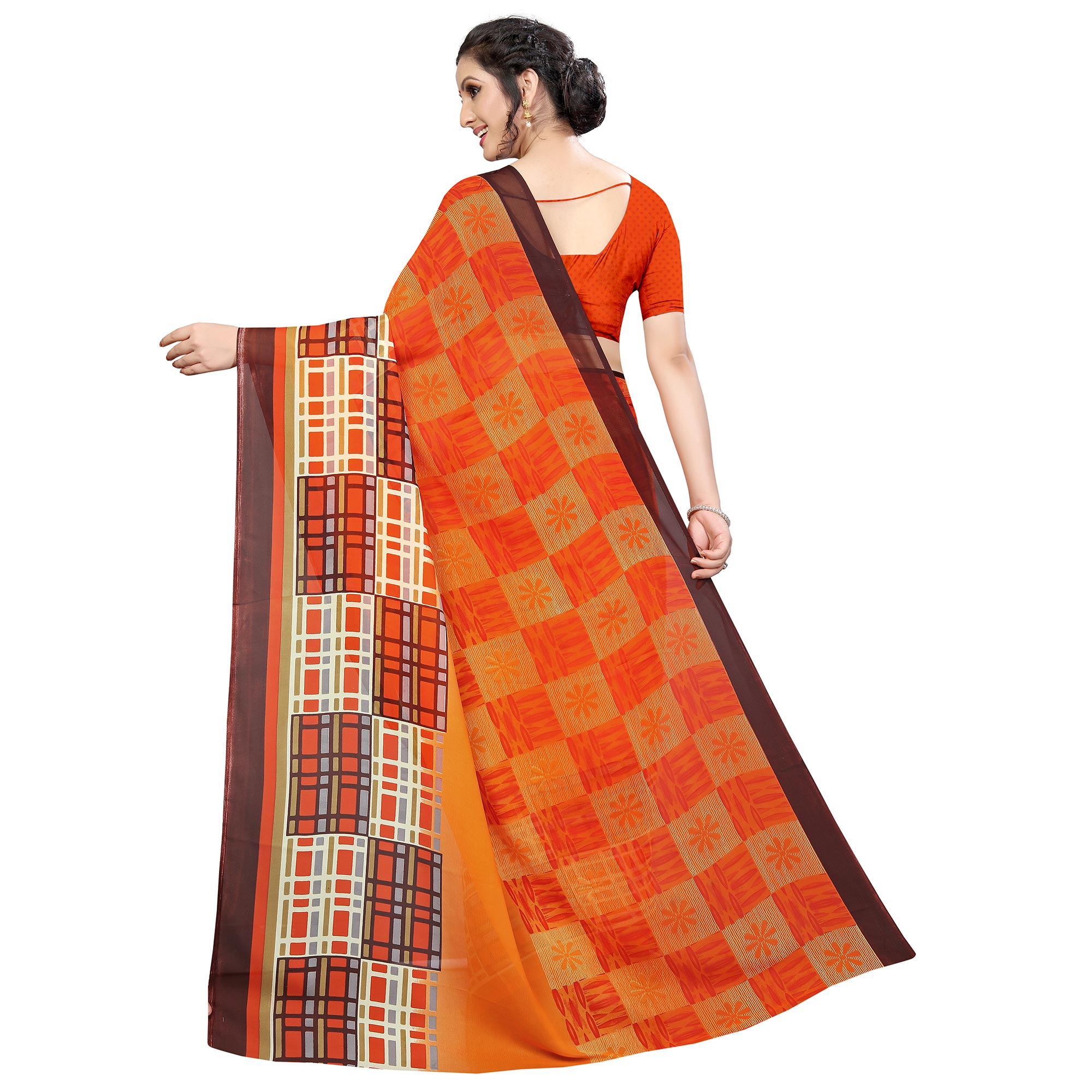 Majesty Orange Colored Casual Wear Printed Georgette Saree