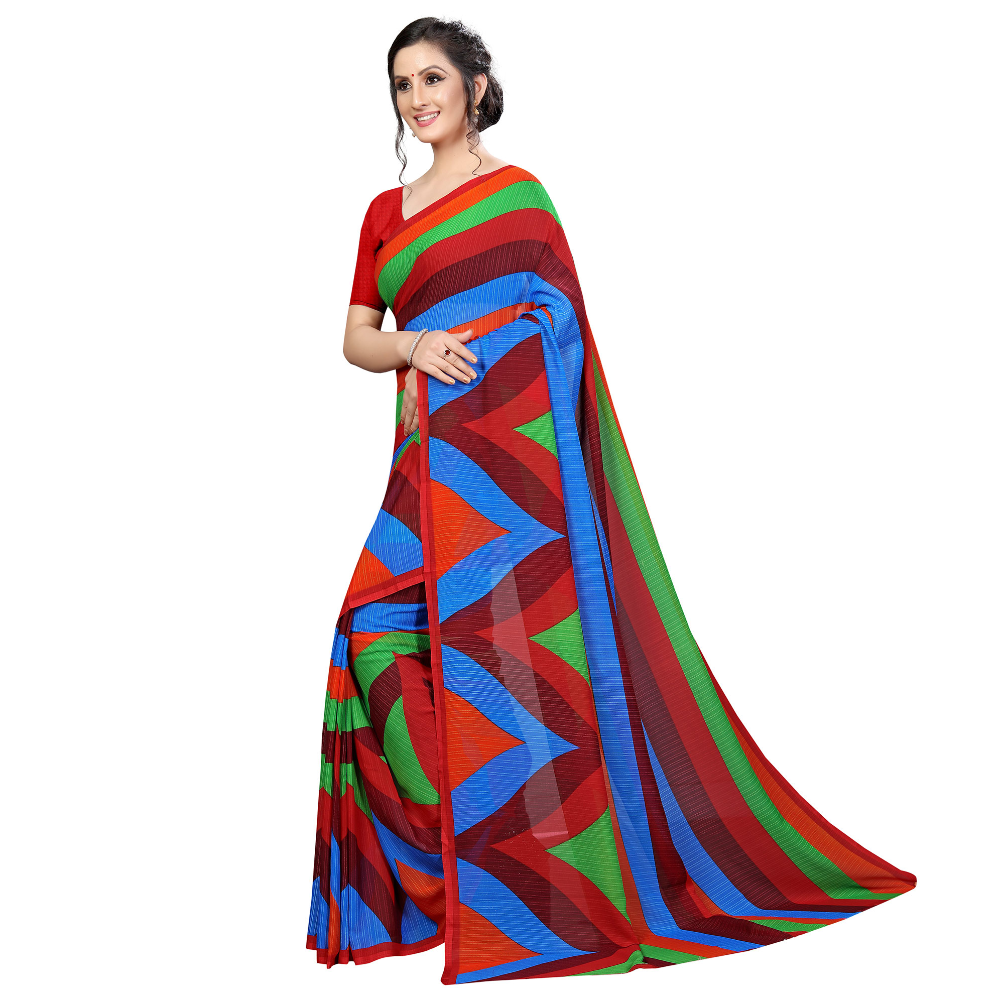Pleasance Multi Colored Casual Wear Printed Georgette Saree