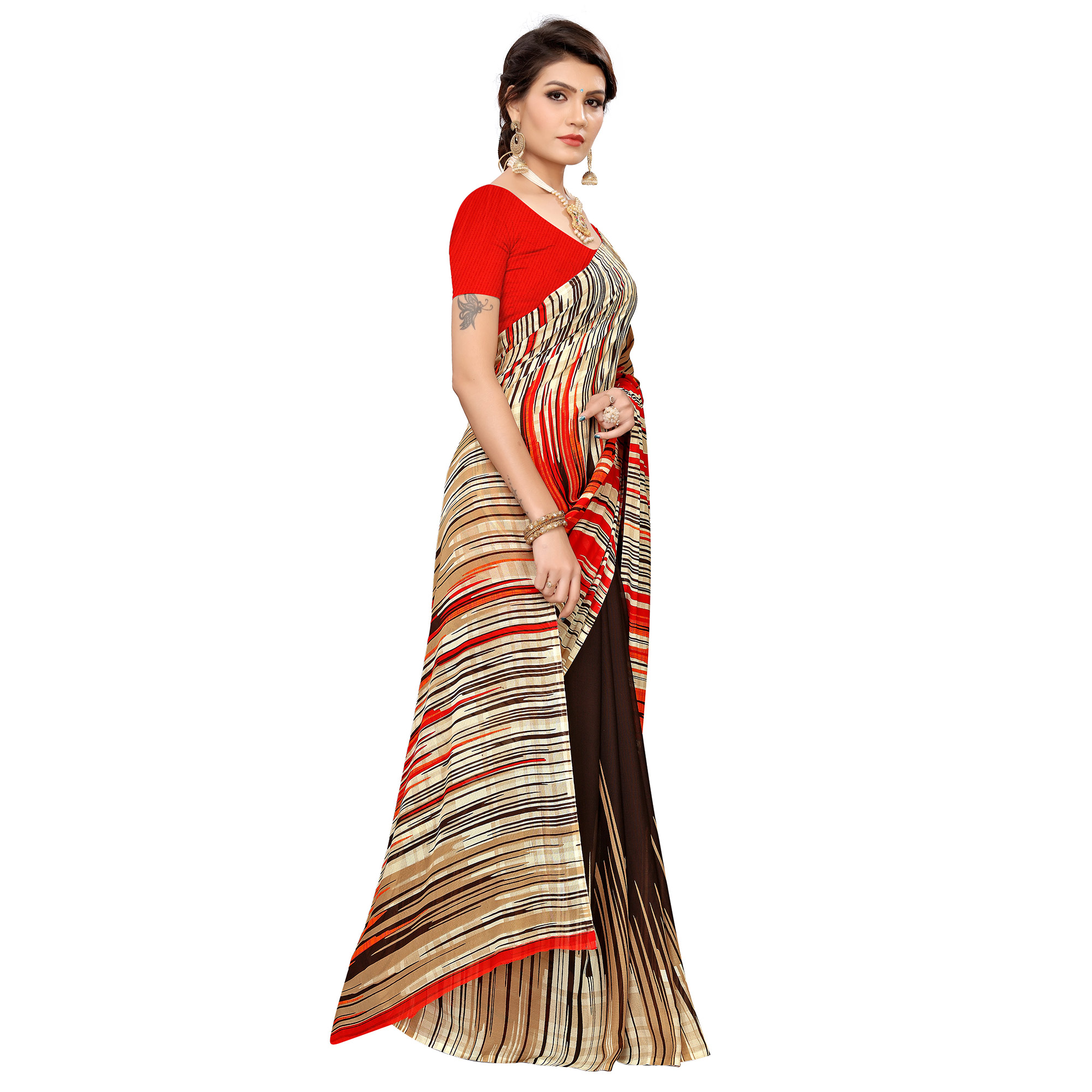 Dazzling Coffee Brown Colored Casual Wear Printed Georgette Saree