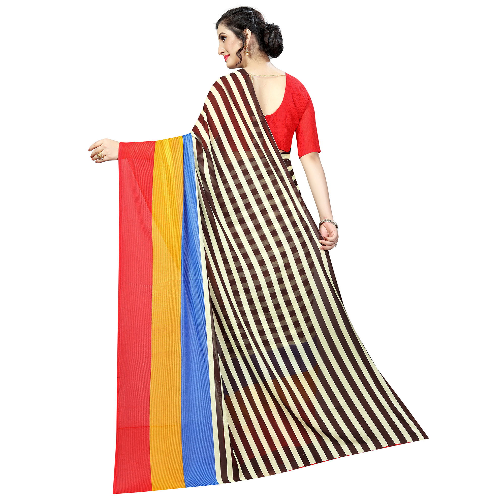 Surpassing Multi Colored Casual Wear Printed Georgette Saree