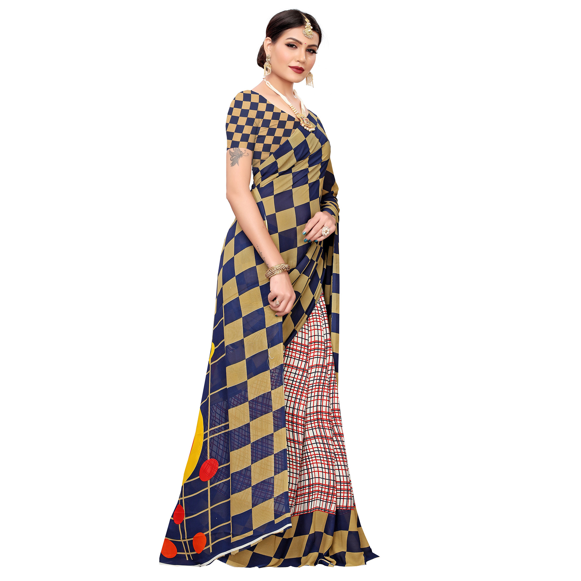 Intricate Navy Blue-White Colored Casual Wear Printed Georgette Saree