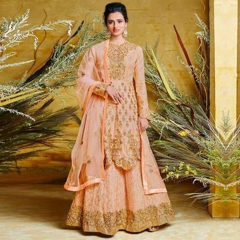 Excellent Peach Colored Partywear Embroidered Stitched 2 Piece Silk Anarkali Suit