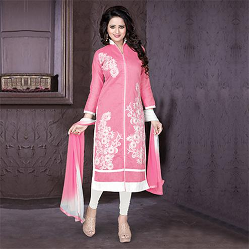 Pink Embroidered Work Dress Material