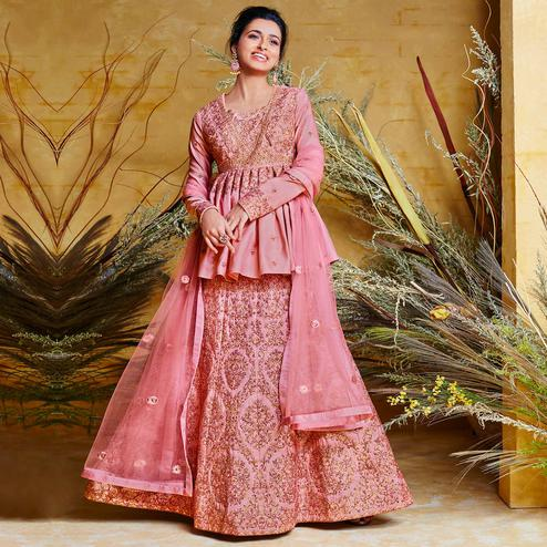 Marvellous Pink Colored Partywear Embroidered Stitched 2 Piece Silk Anarkali Suit