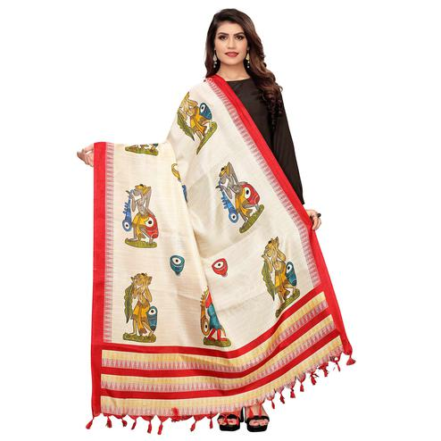 Exclusive White-Red Colored Casual Wear Printed Cotton Dupatta