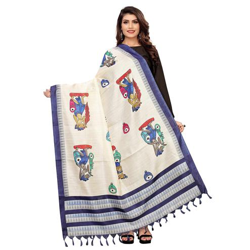 Capricious White-Blue Colored Casual Wear Printed Cotton Dupatta