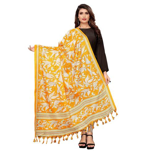 Intricate Mustard Yellow Colored Festive Wear Printed Cotton Dupatta