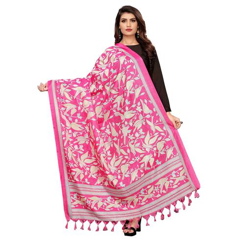 Classy Pink Colored Festive Wear Printed Cotton Dupatta
