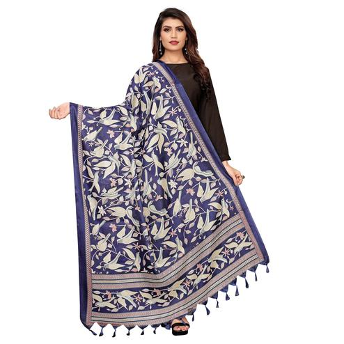 Prominent Navy Blue Colored Festive Wear Printed Cotton Dupatta