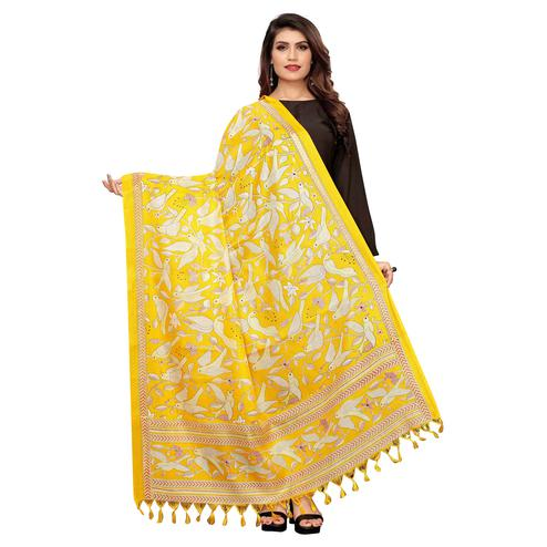 Arresting Yellow Colored Festive Wear Printed Cotton Dupatta