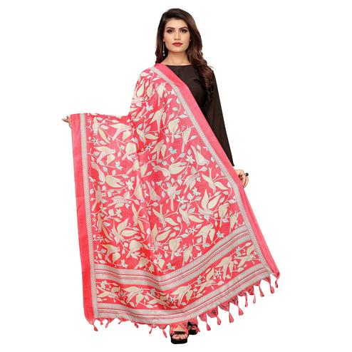 Glorious Coral Red Colored Festive Wear Printed Cotton Dupatta