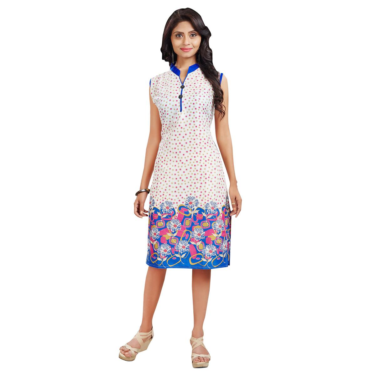 Off White - Blue Causal Kurti