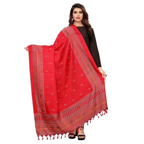 Mesmeric Red Colored Festive Wear Printed Cotton Dupatta