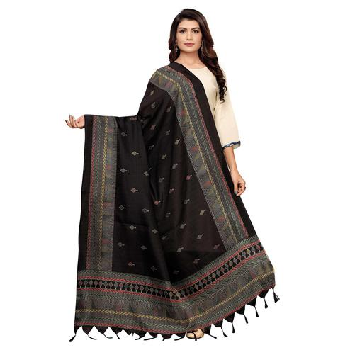 Glowing Black Colored Festive Wear Printed Cotton Dupatta