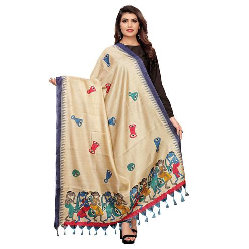 Mesmeric Beige-Navy Blue Colored Festive Wear Printed Cotton Dupatta