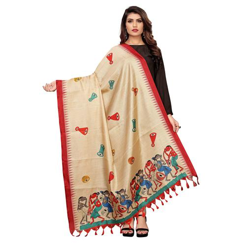 Amazing Beige-Red Colored Festive Wear Printed Cotton Dupatta