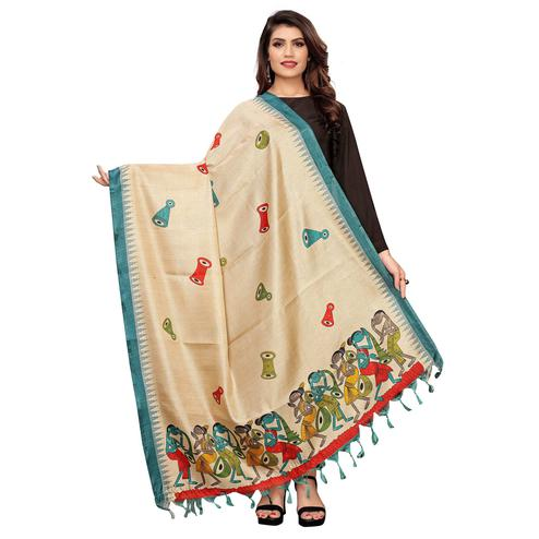 Fantastic Beige-Turquoise Green Colored Festive Wear Printed Cotton Dupatta