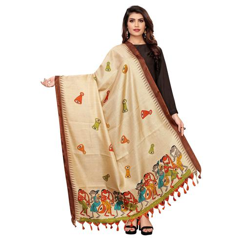 Glowing Beige-Brown Colored Festive Wear Printed Cotton Dupatta