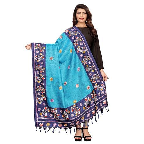 Exclusive Sky Blue Colored Festive Wear Printed Cotton Dupatta