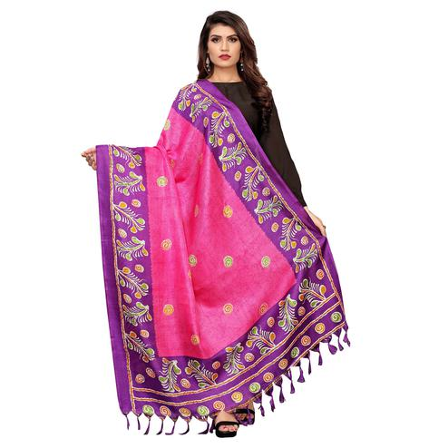 Radiant Pink Colored Festive Wear Printed Cotton Dupatta