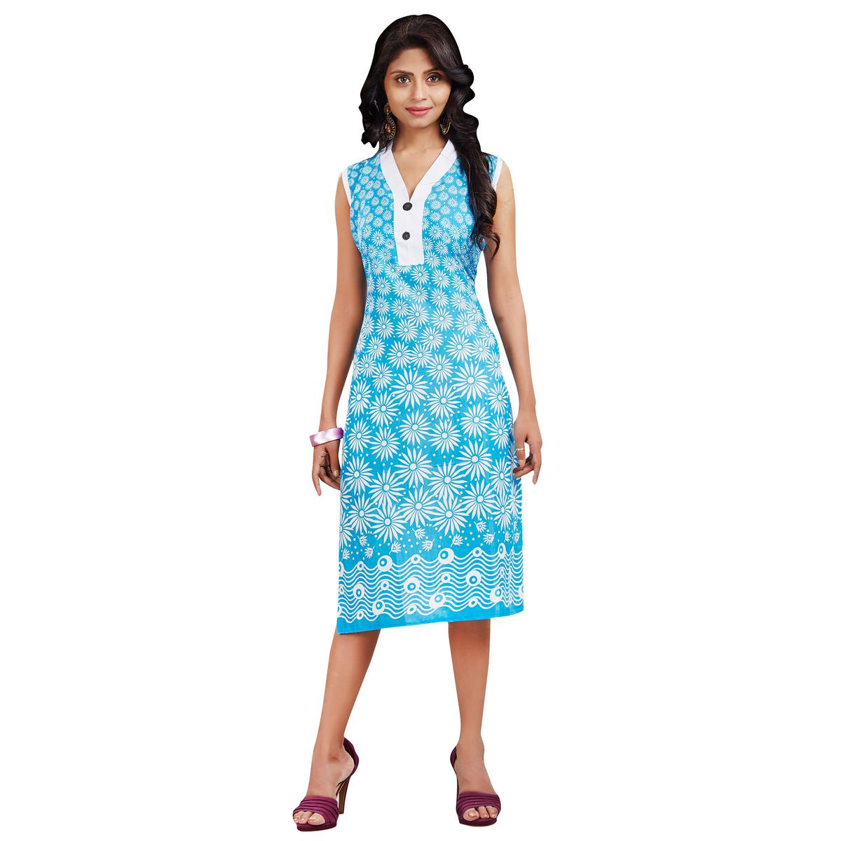 Blue Floral Printed Cotton Kurti