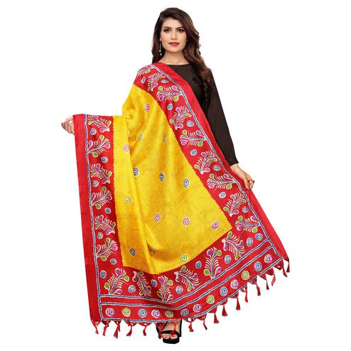 Jazzy Yellow Colored Festive Wear Printed Cotton Dupatta