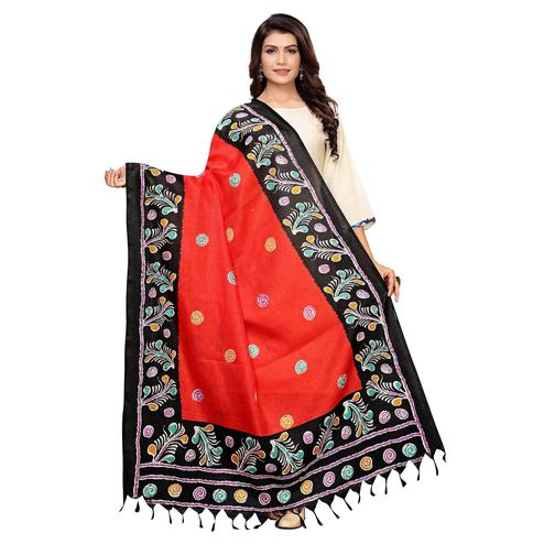 Charming Red Colored Festive Wear Printed Cotton Dupatta
