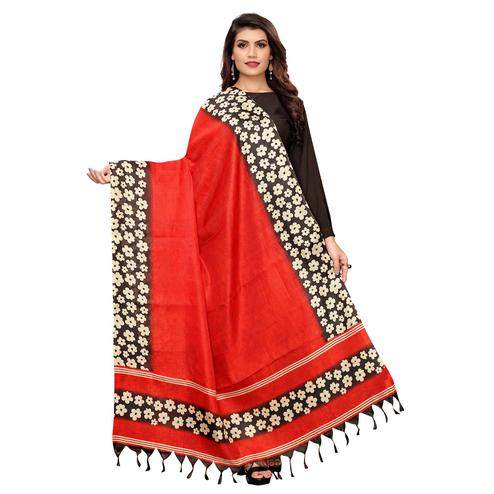 Flamboyant Red Colored Festive Wear Floral Printed Cotton Dupatta