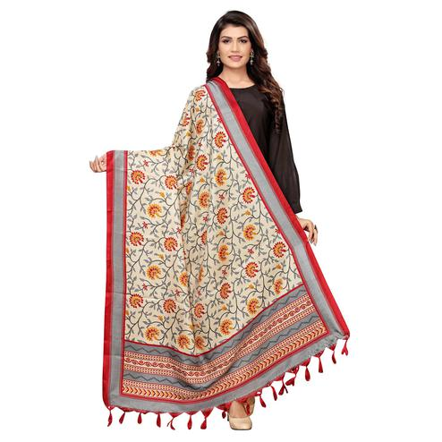 Classy Beige-Red Colored Festive Wear Floral Printed Cotton Dupatta