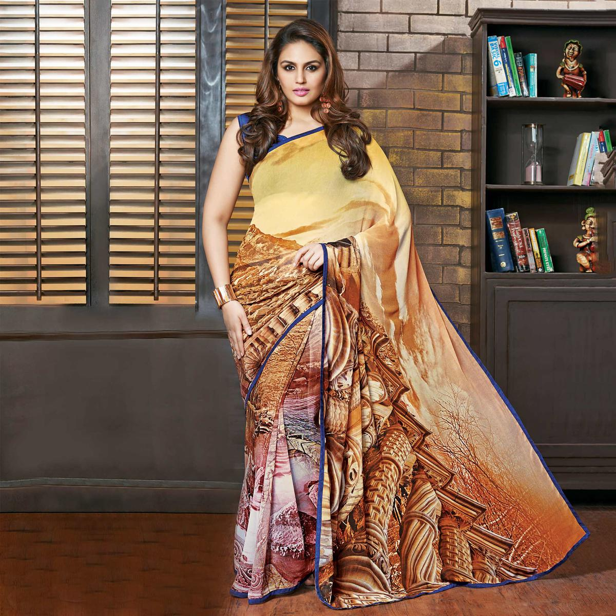 Golden - Brown Georgette Saree