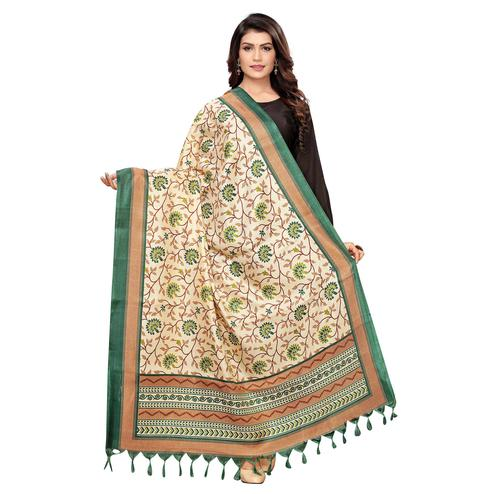 Glorious Beige-Green Colored Festive Wear Floral Printed Cotton Dupatta
