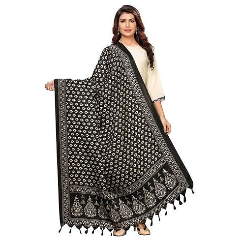 Engrossing Black Colored Festive Wear Printed Cotton Dupatta