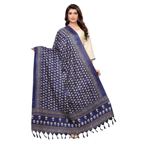 Charming Navy Blue Colored Festive Wear Printed Cotton Dupatta