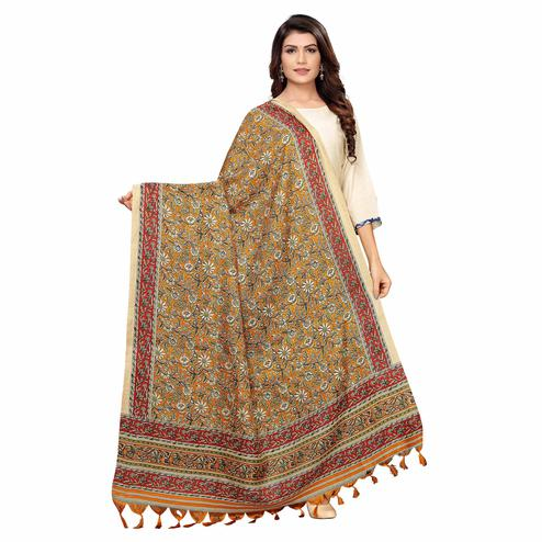 Radiant Mustard Yellow Colored Festive Wear Floral Printed Cotton Dupatta
