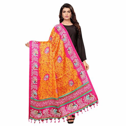 Blooming Orange Colored Festive Wear Peacock Printed Cotton Dupatta