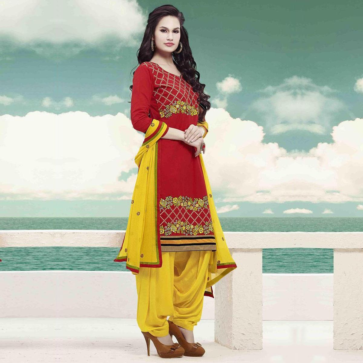 Red - Yellow Embroiderd Work Patiala Suit