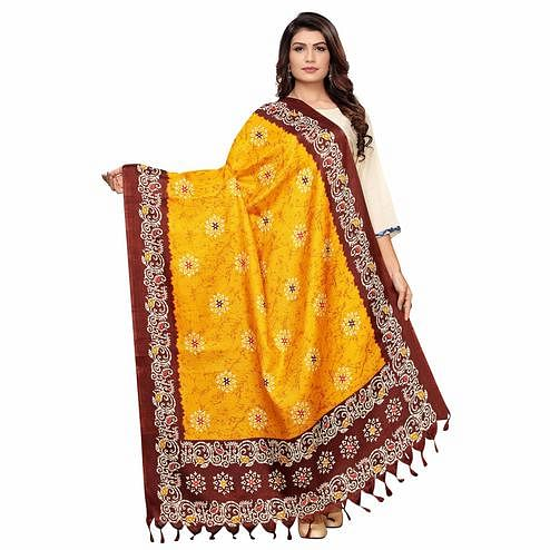 Charming Yellow Colored Festive Wear Peacock Printed Cotton Dupatta