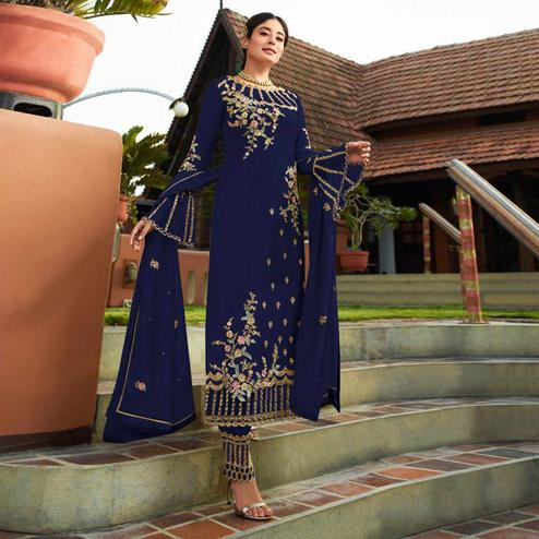Attractive Navy Blue Colored Party Wear Embroidered Georgette Kashmiri Pant Style Suit