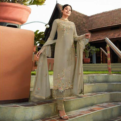 Beautiful Beige Colored Party Wear Embroidered Georgette Kashmiri Pant Style Suit