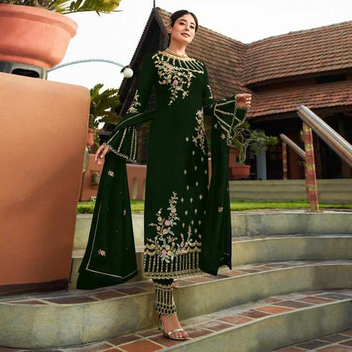 Graceful Dark Green Colored Party Wear Embroidered Georgette Kashmiri Pant Style Suit