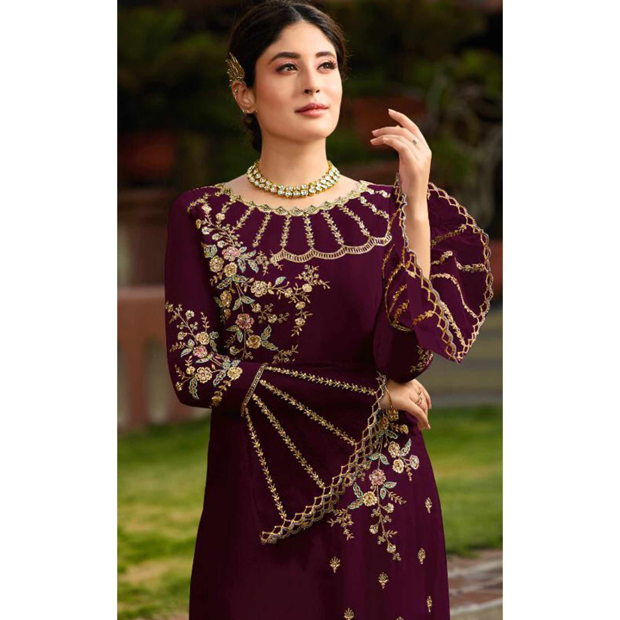 Blooming Maroon Colored Party Wear Embroidered Georgette Kashmiri Pant Style Suit