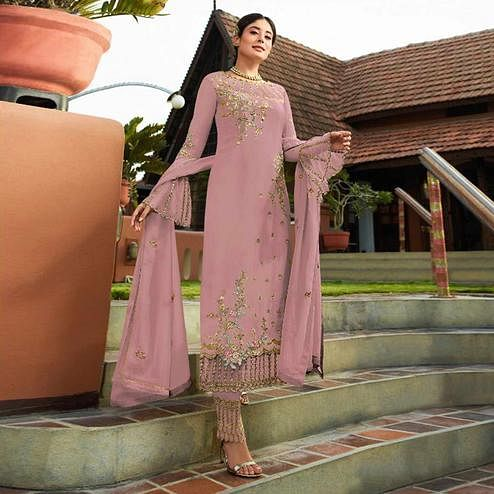 Charming Mauve Colored Party Wear Embroidered Georgette Kashmiri Pant Style Suit
