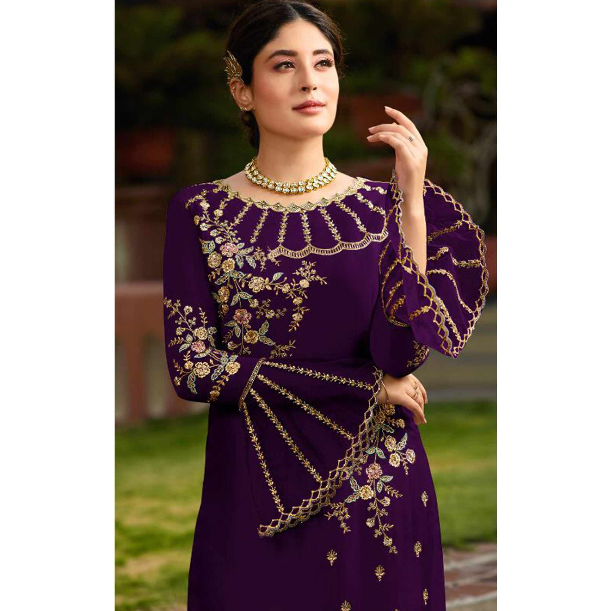 Jazzy Purple Colored Party Wear Embroidered Georgette Kashmiri Pant Style Suit