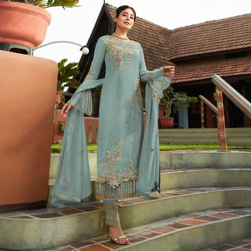 Delightful Blue Colored Party Wear Embroidered Georgette Kashmiri Pant Style Suit