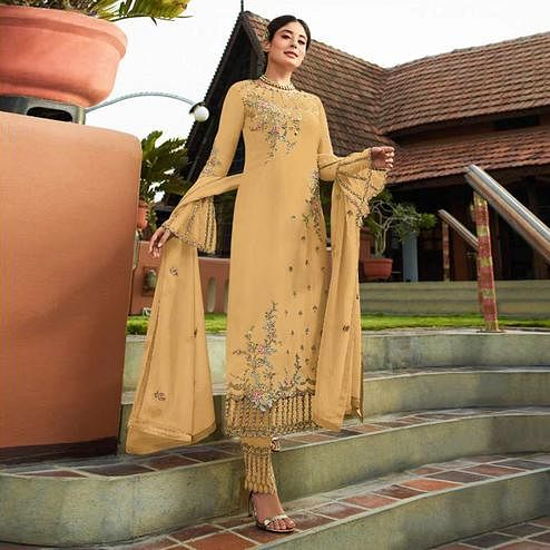 Adorable Yellow Colored Party Wear Embroidered Georgette Kashmiri Pant Style Suit