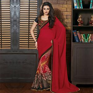 Red Printed Half & Half Saree