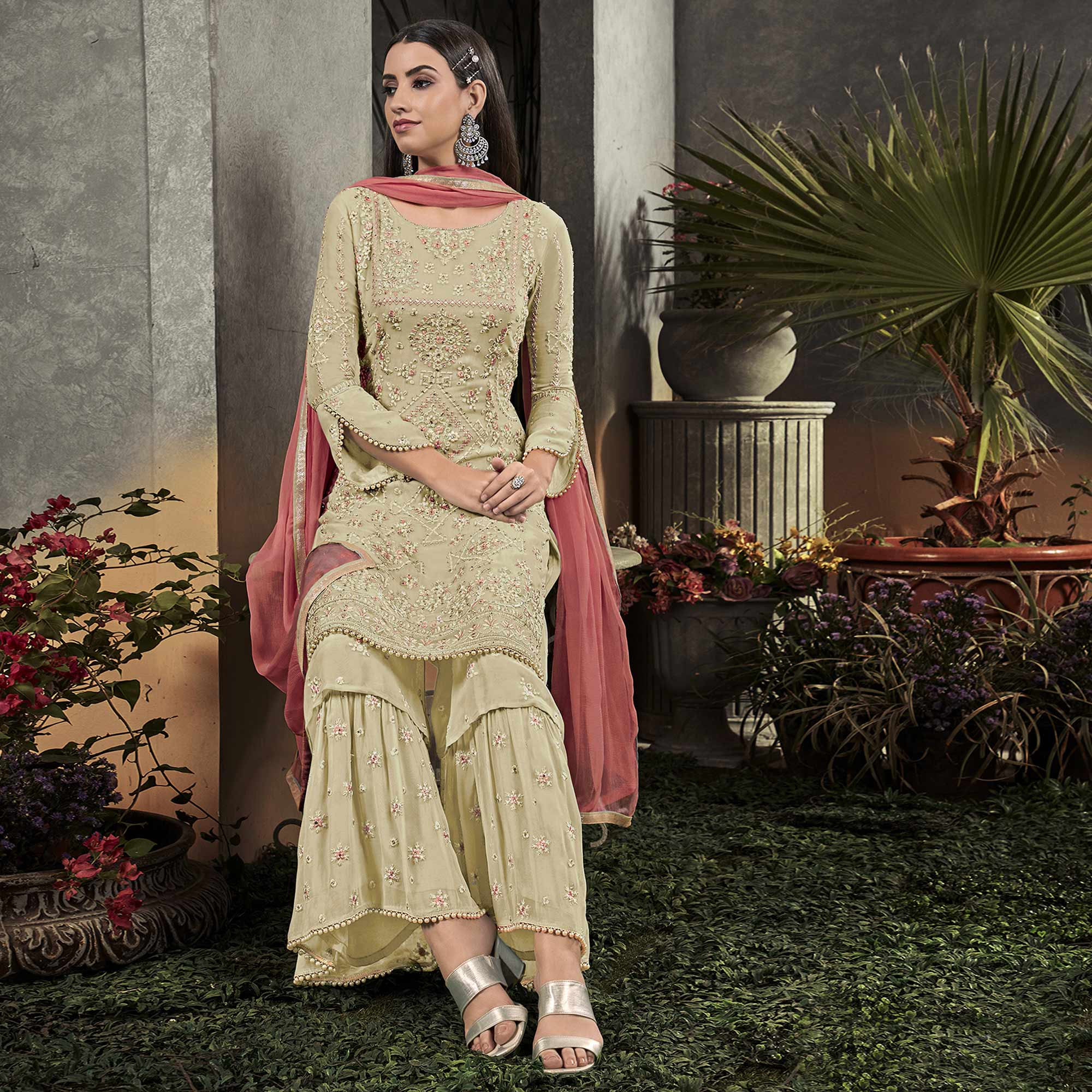 Exceptional Light Yellow Colored Partywear Embroidered Georgette Palazzo Suit