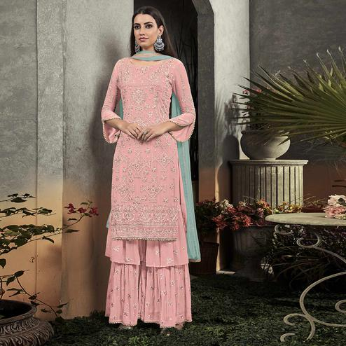 Mesmeric Pink Colored Partywear Embroidered Georgette Palazzo Suit