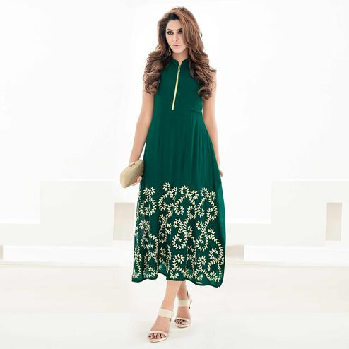 Refreshing Bottle Green Colored Partywear Floral Embroidered Georgette Kurti